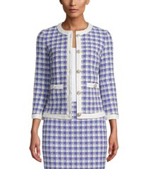 anne klein textured-gingham blazer