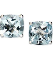 14k white gold earrings, aquamarine cushion studs (1-5/8 ct. t.w.)