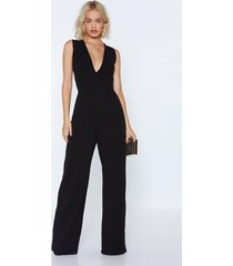 womens deep in touch plunging jumpsuit - black