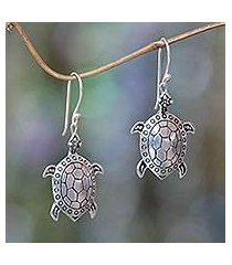 sterling silver dangle earrings, 'turtle of the sea' (indonesia)