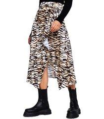 women's river island handkerchief hem animal print midi skirt, size 10 us - brown