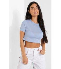 petite kort basic t-shirt, pale blue