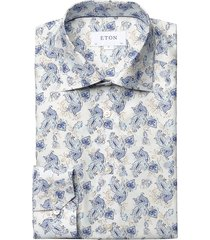eton men's slim-fit paisley-print cotton dress shirt - blue - size 15