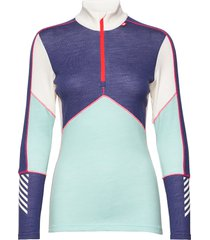w hh lifa merino 1/2 zip base layer tops blauw helly hansen
