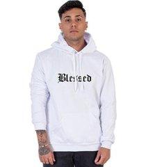moletom algodão masculino blessed capuz bolso canguru casual