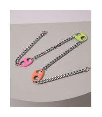 colar feminino com elos de resina neon prateado