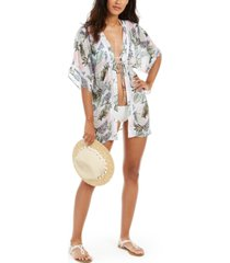 miken juniors' leaf printed tie-front kimono cover-up, created for macy's women's swimsuit