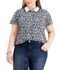 tommy hilfiger plus size buttercup floral-print polo shirt