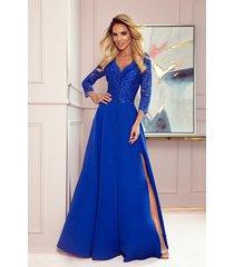 309-2 amber elegancka koronkowa długa suknia