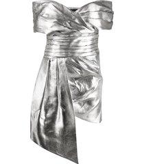 alexandre vauthier off-the-shoulder draped mini dress - silver