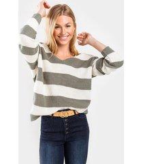 olivette striped knot back sweater - olive