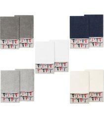 linum home 100% turkish cotton ethan 2-pc. embellished bath towel set bedding