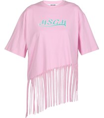 msgm cotton t-shirt with fringes