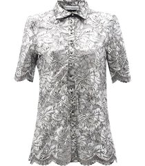 coated-lace longline shirt
