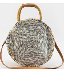 river frayed edge straw circular tote - blue