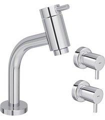 kit torneira para lavatório de mesa de bica baixa com 2 acabamentos link cromado