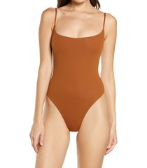 women's skims fits everybody cami thong bodysuit, size large - brown