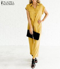 zanzea botones de manga corta para mujer solapa catsuit tops túnicas mono mono de mameluco -amarillo