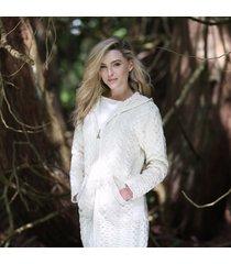 hooded irish aran zipper coat cream xxl