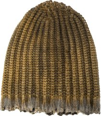 avant toi distressed ribbed-knit beanie - green