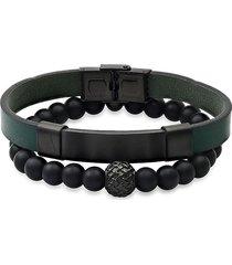 anthony jacobs men's 2-piece stainless steel, leather & black lava beaded bracelet set