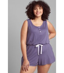 lane bryant women's french terry sleep romper 30/32 grisaille