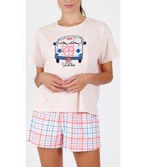 pyjama's / nachthemden admas pyjama kort t-shirt summer furgo koraal