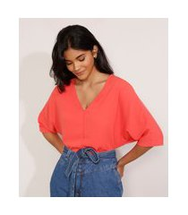 blusa ampla básica manga curta decote v vermelha