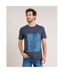 camiseta masculina folhagem manga curta gola careca azul marinho