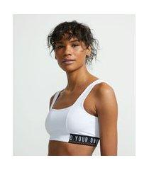 top esportivo em poliamida com faixa personalizada | get over | branco | g