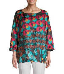 silk geometric print top