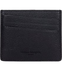 maison margiela wallet in black leather