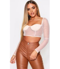 glitter mesh long sleeve cupped top, nude