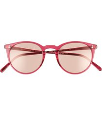 women's oliver peoples o'malley 48mm photochromic round sunglasses - bright magenta