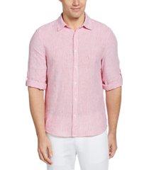 perry ellis men's roll-tab stripe linen shirt