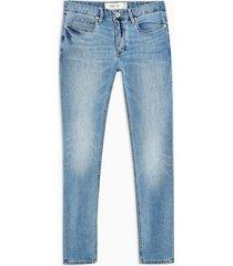 mens blue considered light wash spray on skinny jeans