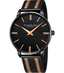 stuhrling men's black, gold tone mesh stainless steel bracelet watch 42mm