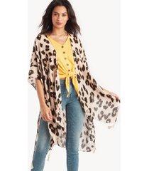 women's leopard printed kimono cream combo one size from sole society