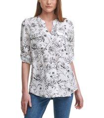 calvin klein printed tab-sleeve shirt