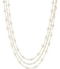 2028 women's gold tone three strand imitation pearl chain necklace