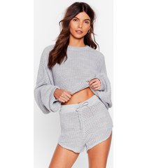 womens knit again sweater and shorts lounge set - grey