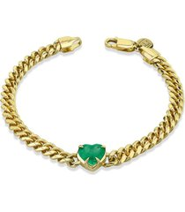 queen emerald heart cuban link bracelet