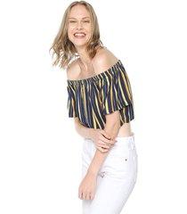 blusa azul-amarillo active
