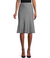 heathered cotton-blend flounce skirt