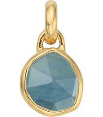 mini siren aquamarine bezel pendant, gold vermeil on silver