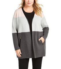 charter club plus size color blocked cardigan, created for macy's