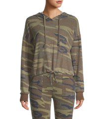 sweet romeo women's camo cropped hoodie - olive camo - size l