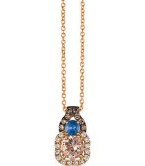 chocolatier® 14k strawberry gold®, chocolate diamonds®, vanilla diamonds®, peach morganite™ & cornflower ceylon sapphire™ pendant necklace