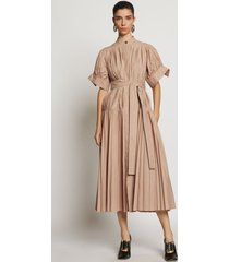 proenza schouler pleated poplin belted dress light khaki/neutrals 6