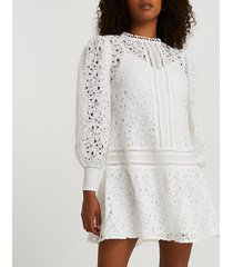 river island womens white lace long sleeve mini dress